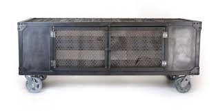 Accent Console Table Handmade Rolling Steel Media Cabinet Industrial Occasional Table