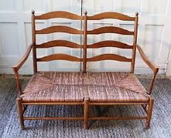 French Settee Loveseat Vintage Country French Rush Seat Ladderback Settee Loveseat Bench