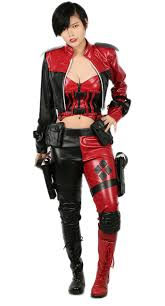 xcoser harley quinn costume lady leather full set