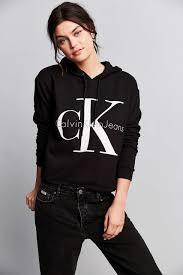 calvin klein for uo u002790s cropped hoodie sweatshirt sweatshirt