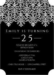 elegant black and white 25th birthday invitation birthday