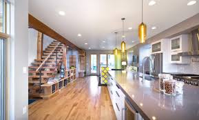 Modern Kitchen Island Lighting Denver House Features Pharos Pendant Lights Over Kitchen Island
