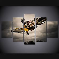 sports mighty paintings supercross motocross dirt bike doing air trick wall art canvas