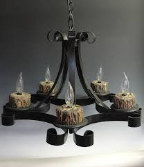 Black Metal Chandeliers Old Wrought Iron Chandeliers With Unique Wood Lamp Holder For