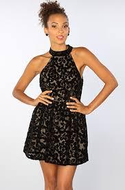 la boutique halter lace dress in black karmaloop com