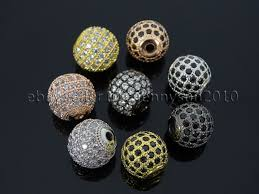 bracelet charm beads silver images Zircon gemstones pave round ball bracelet connector charm beads jpg