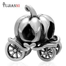 halloween pumpkin carriage charms 925 sterling silver beads diy