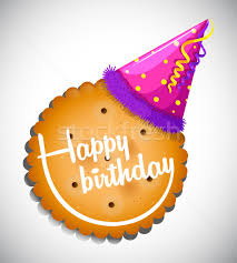 happy birthday card template with cookie and hat vector