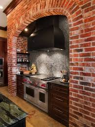 Brick Kitchen Backsplash by Interior Design Wonderful Brick Backsplash With Black Range Hood