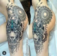 thigh sleeve tattoo designs wolf hip u2026 pinteres u2026