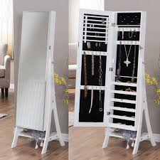 Jewelry Box Mirror Stand Innovation Luxury White Jewelry Armoire For Inspiring Nice