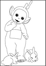 teletubbies laa laa rabbits coloring picture kids