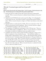 Exponential Functions Word Problems Worksheet Math Worksheets For Exponential Functions