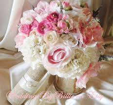 Shabby Chic Bridal Bouquet by Silk Bride Bouquet White Cream Pale Pink Roses Cream Hydrangea