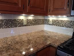 home design kitchen subway tile backsplash with mosaic deco band