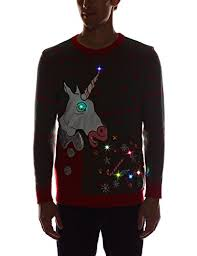mens light up ugly christmas sweater blizzard bay vomiting unicorn light up ugly christmas sweater