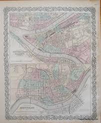 Map Of Cincinnati Colton U0027s Pittsburgh And Cincinnati Antique Maps And Charts