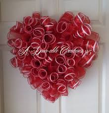 heart shaped items heart shaped and white spiral deco mesh wreath