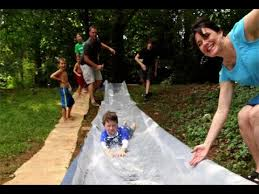 Water Slides Backyard by Diy Backyard Water Slide Slip N Slide Youtube