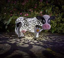 smart solar silhouette cow led garden lighting colour