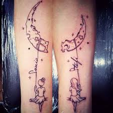 sharing the moon and stars lettering soul sister tattoo tattoo