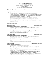 Resume Samples For Receptionist by Volunteer Experience And Head Organizer For Objective On Resume