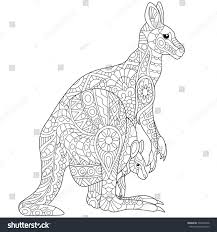 stylized australian kangaroo family mother her stock vector