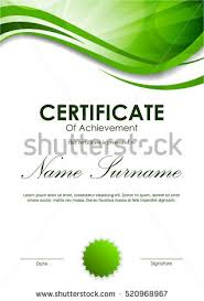 certificate achievement template green dynamic wavy stock vector