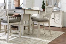 white and gray rectangular counter height dining room set