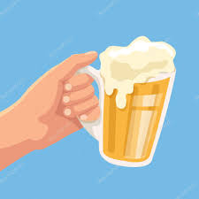 cartoon beer cheers hand hold beer toast with beer one hand vector flat cartoon