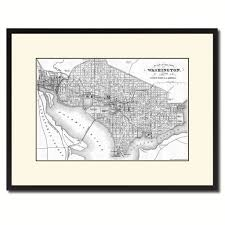 United States Map Washington Dc Washington Dc Vintage B U0026w Map Canvas Print Picture Frame Home