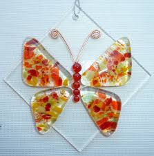butterfly fused glass suncatcher by ladeansdesigns on etsy fused