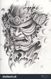 samurai warrior tattoo designhand pencil drawing stock