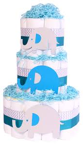 elephant baby shower nappy cake boys blue grey gift elephant