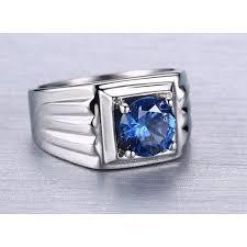 model cincin blue safir cincin pria titanium steel 316 batu blue sapphire aaa cubic zircon