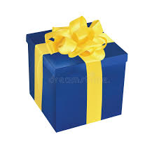 blue and yellow ribbon blue gift box with yellow ribbon stock vector illustration of