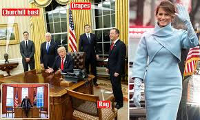 White House Gold Curtains by Donald Trump Makes Changes In The Oval Office Daily Mail Online