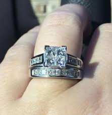Zales Wedding Rings by 2 Ct T W Quad Princess Cut Diamond Bridal Set In 14k White Gold