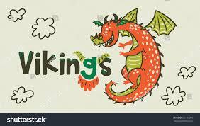 banner cartoon dragon vikings age vector stock vector 666387802