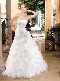 strapless organza bridal gown with asymmetrical ruffle skirt