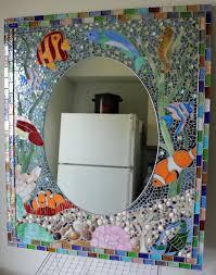 hand made ocean reef bathroom vanity mirror by glassarts studio