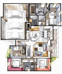 Sketch Floor Plan Real Estate Color Floor Plan 8 On Behance 室内 Pinterest