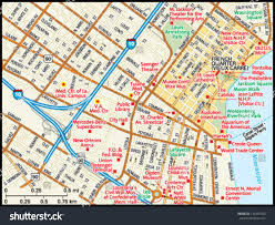 Map New Orleans by New Orleans Louisiana Downtown Map Stock Vector 139439363
