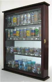 Glass Display Cabinet For Cafe 40 Shooter Tall Shot Glass Display Case Wall Cabinet Shadow Box