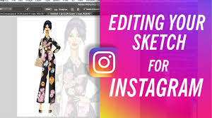 how to edit sketch digitally for instagram fashion drawing youtube