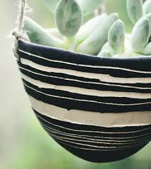 Black And White Planters by Striped Black U0026 White Ceramic Hanging Planter Home Decor