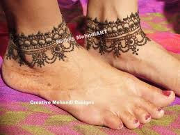 simple anklet feet ornament henna mehndi design tattoo tutorial