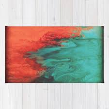 Coral Area Rugs Coral And Teal Fluid Print Area Rug Handmade