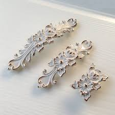 shabby chic dresser drawer pulls handles off white gold french