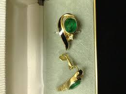 on earrings vintage christian faux emerald enamel clip on earrings
